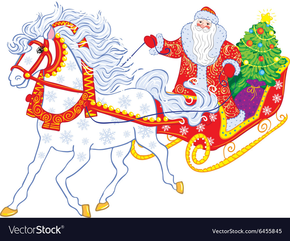 Russian Grandfather Frost in a sleigh