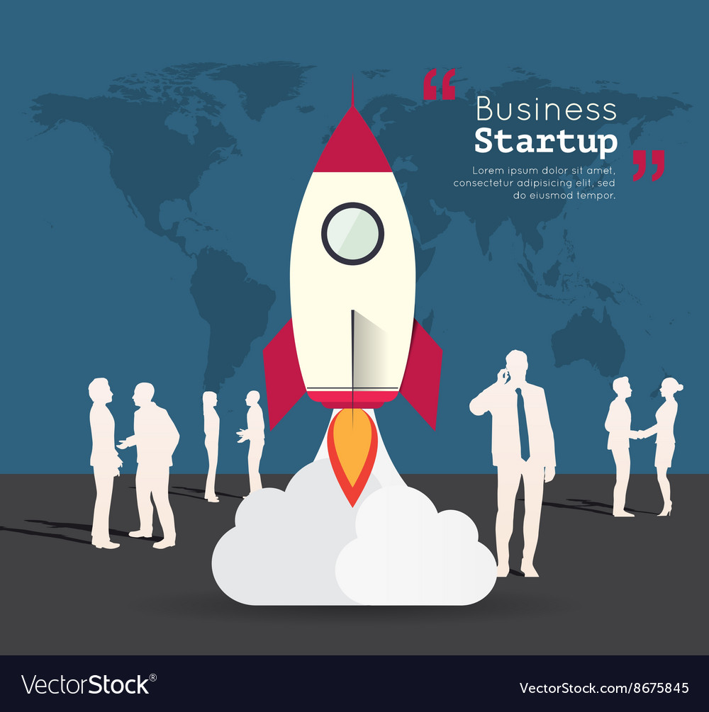 Silhouette people with rocket for startup vector image