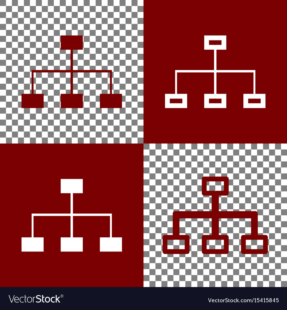 Site map sign bordo and white icons and