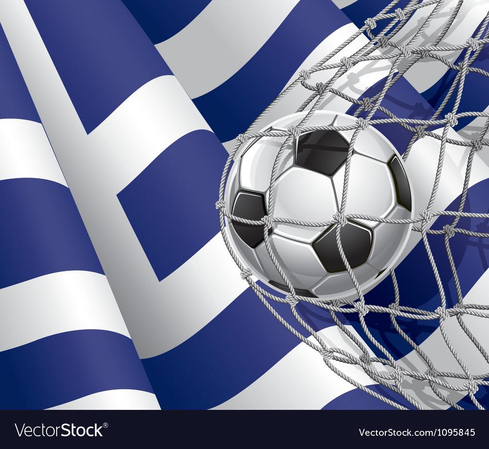 Soccer goal and Greece flag vector image