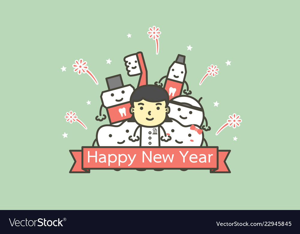 tooth and friends with text for happy new year vector image