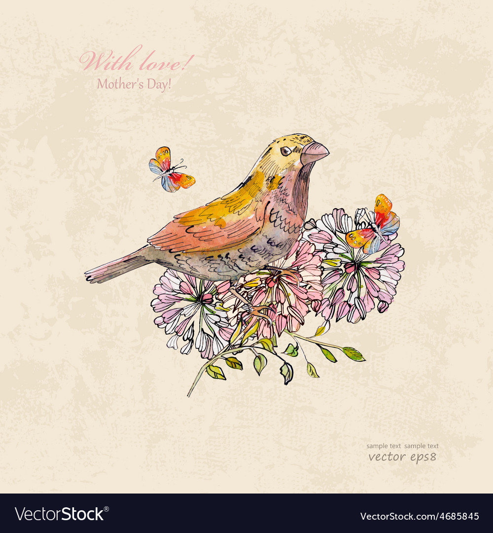 Vintage greeting card with cute bird and