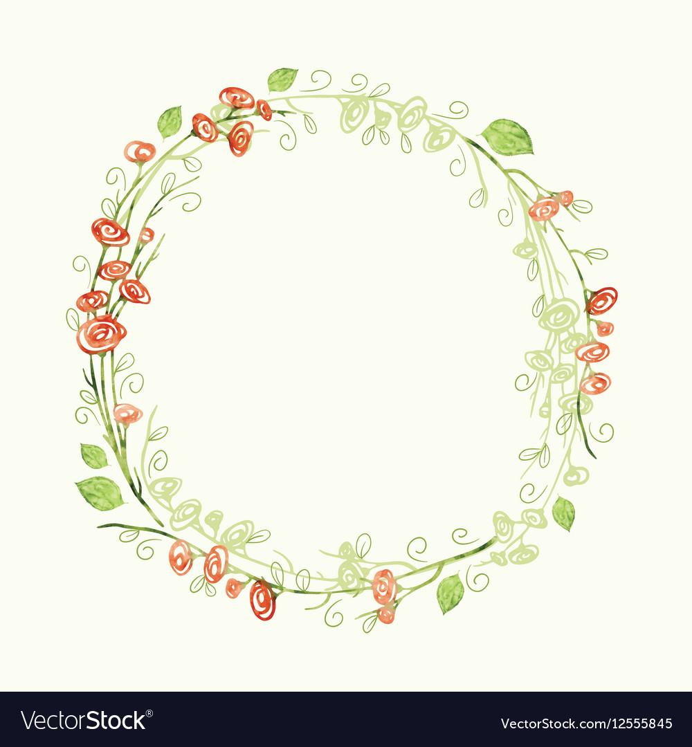 Watercolor round floral frame Hand draw herbal