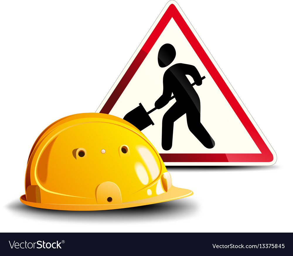Working sign and helmet vector image