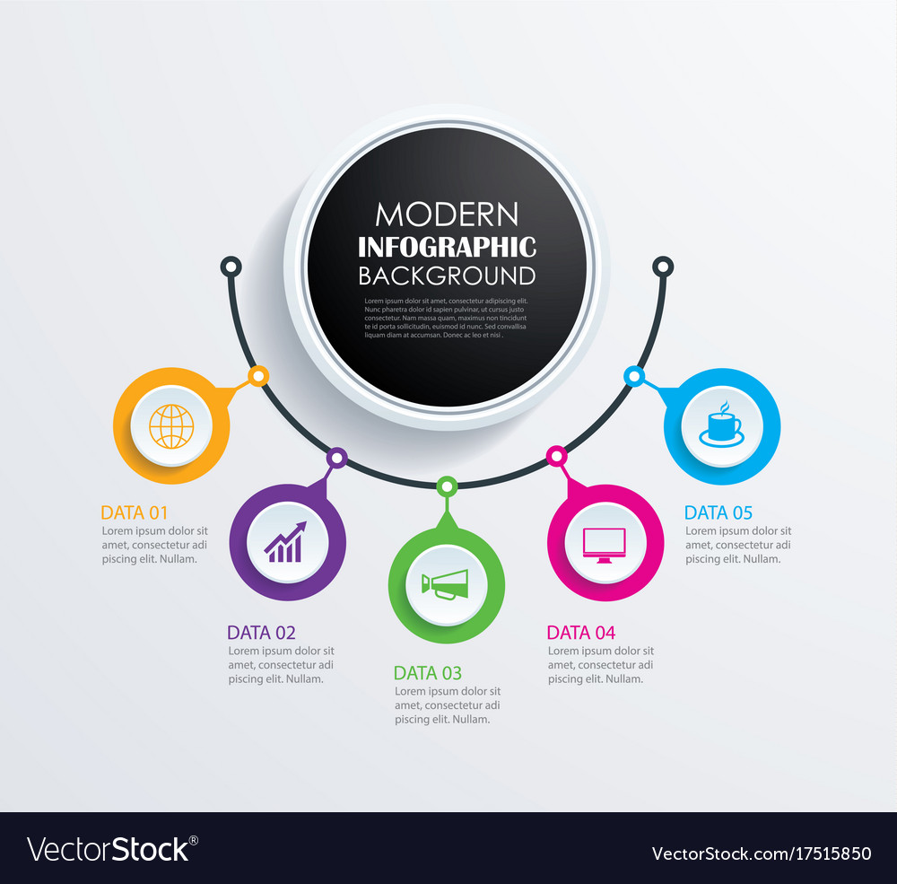 Abstract 5 circle infographics number options