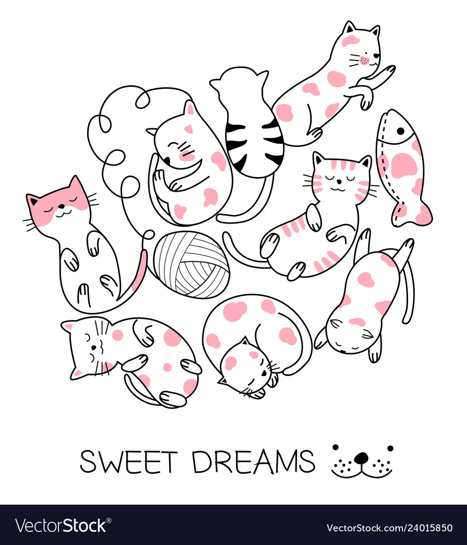 Cute baby cat cartoon hand drawn style for