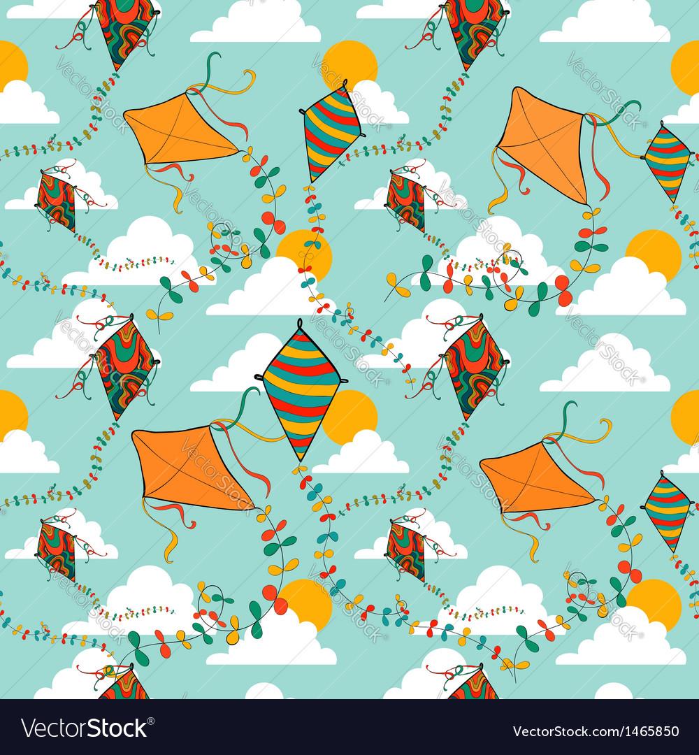 Flying kites seamless pattern vector image