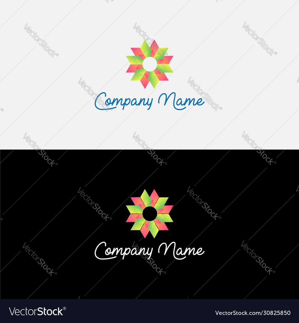Gradient abstract flower logo design