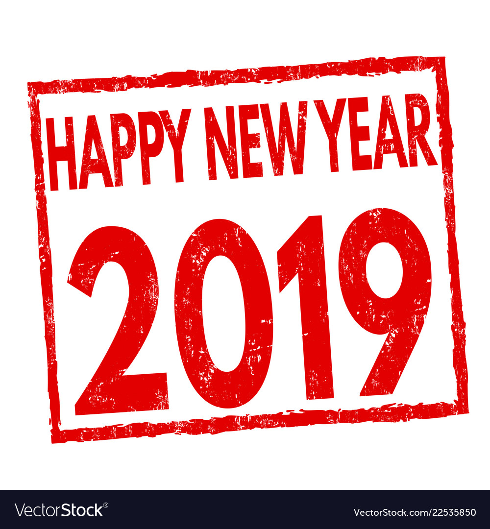 Happy new year 2019 sign or stamp