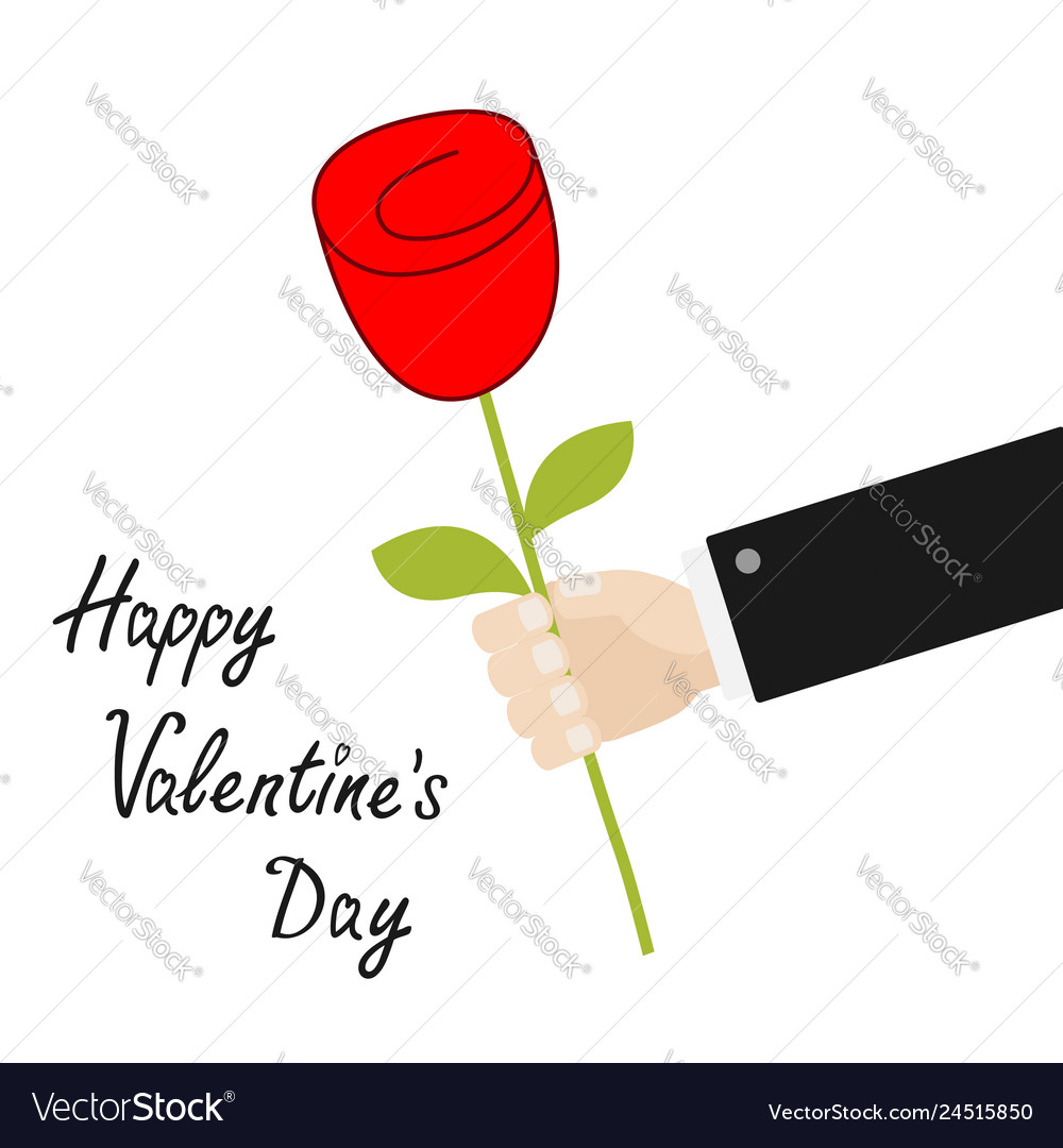 Happy valentines day businessman hand holding red