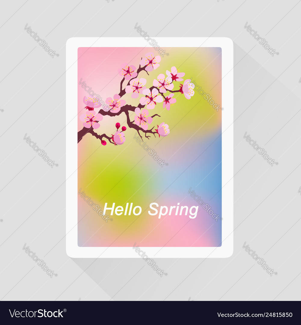 Hello spring card with blossoming tree branch