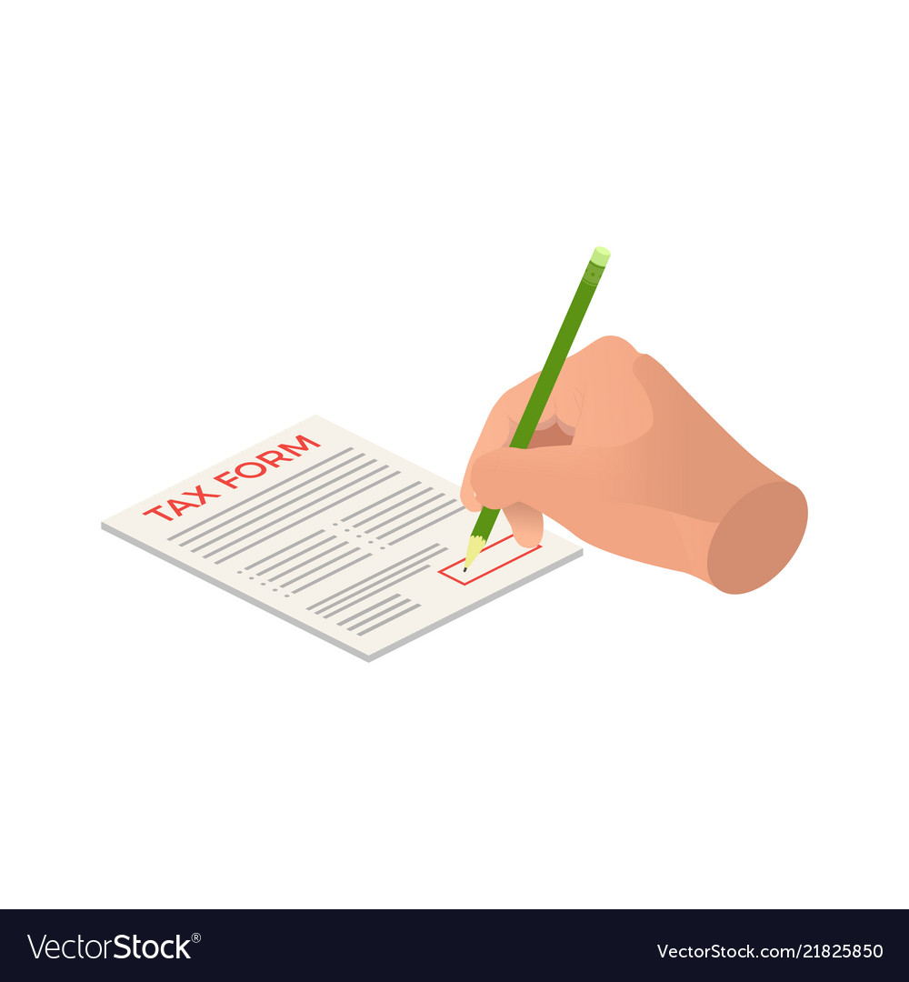 Isometric hands sign a tax form signing agreement