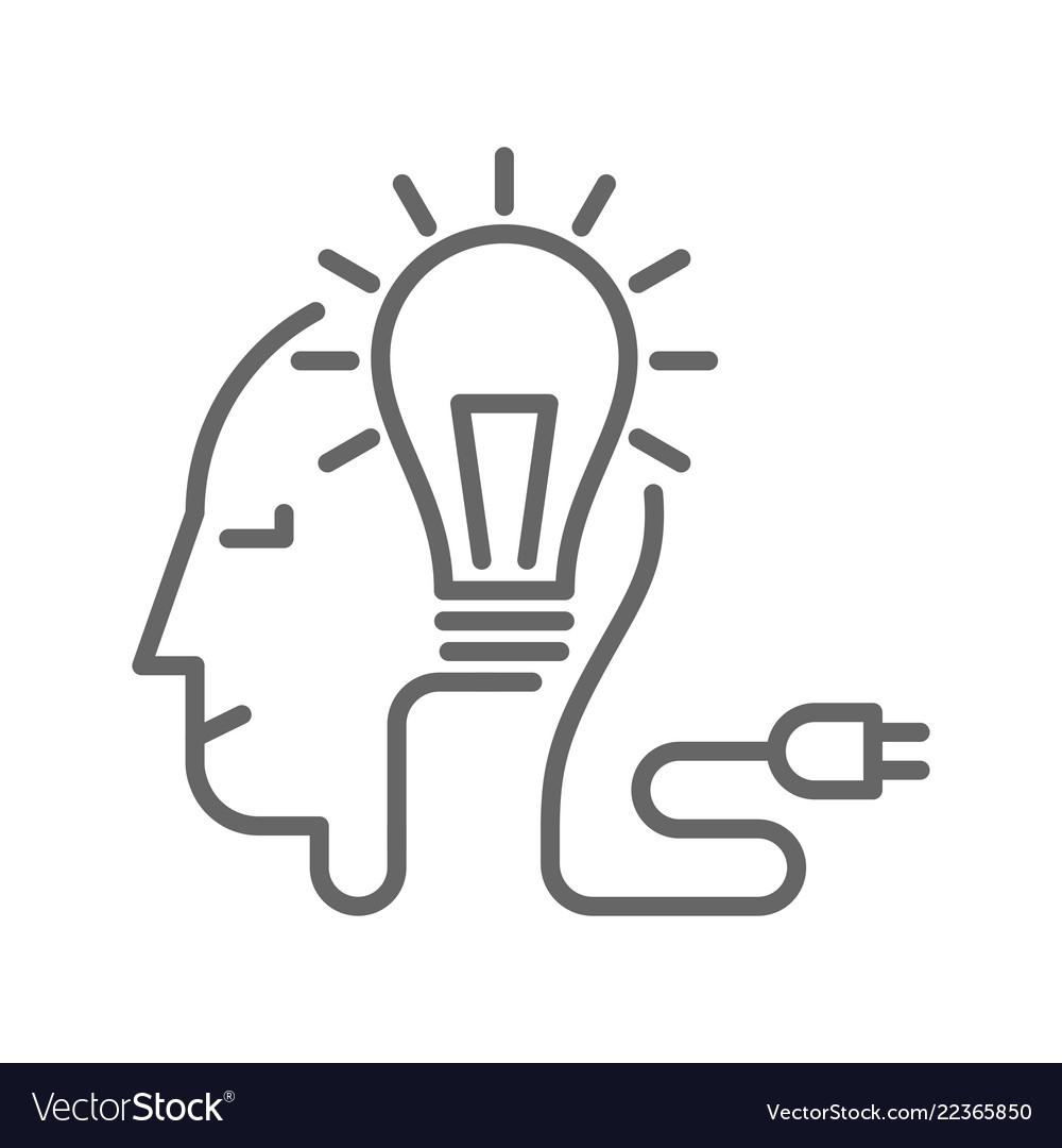 Light bulb and plug on human head
