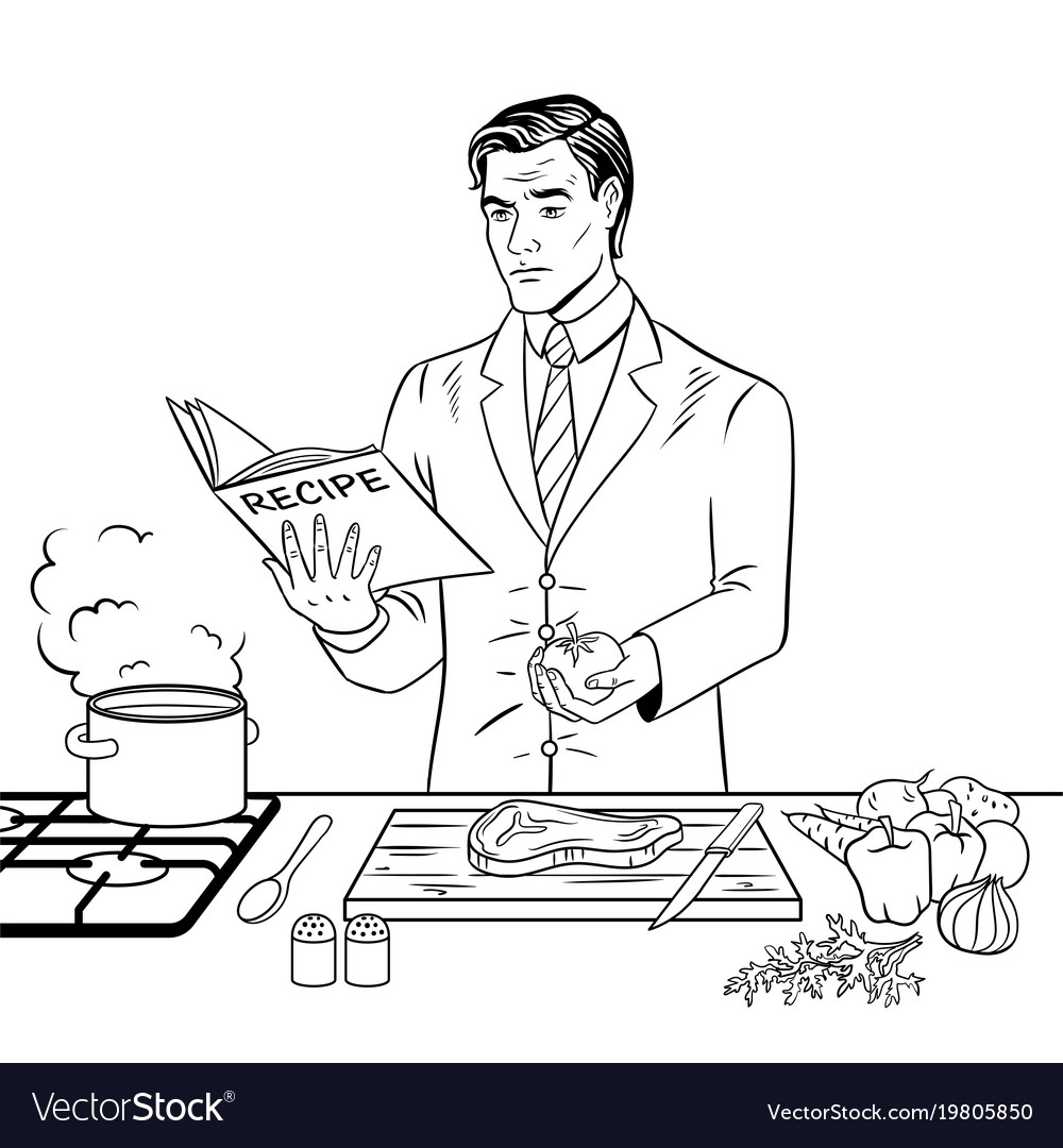 Man cooking food coloring book Royalty Free Vector Image