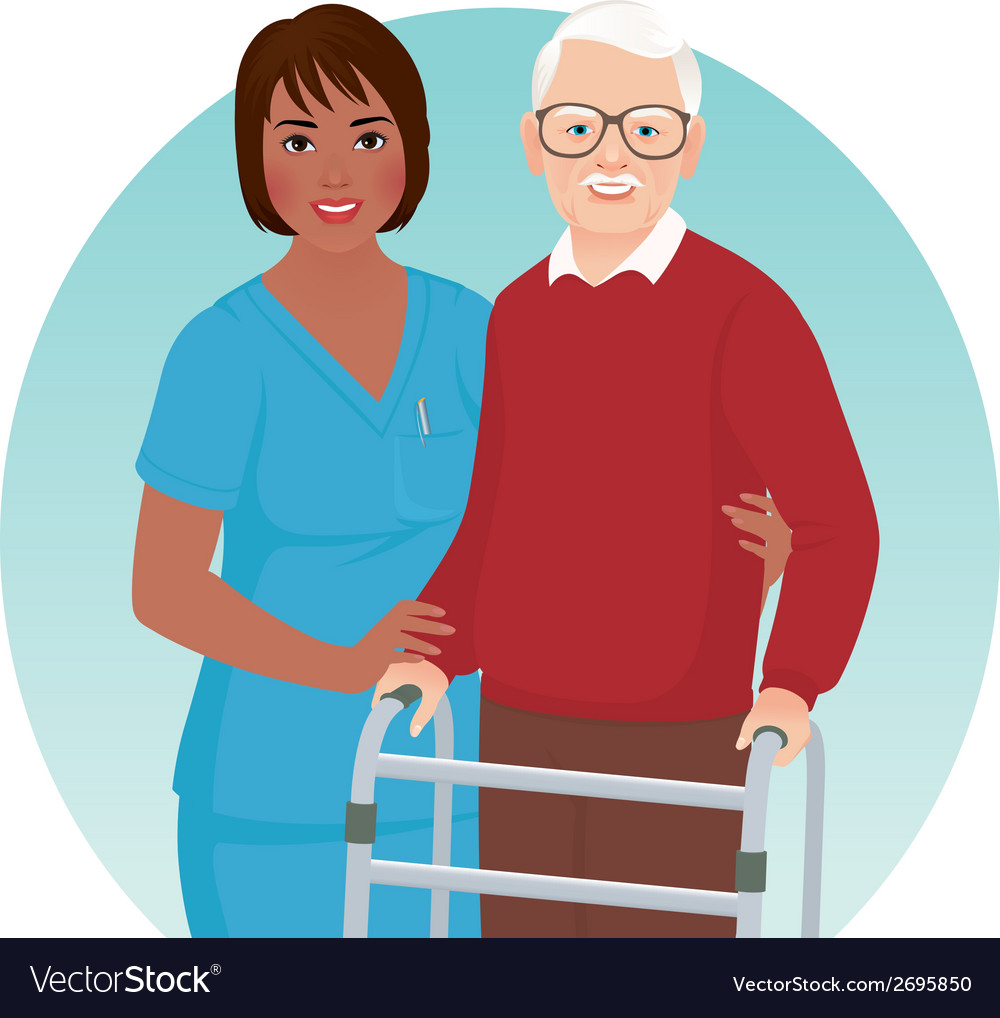 Nurse helps elderly patient vector image