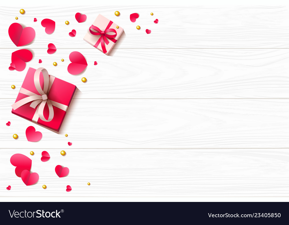 Romantic background with paper hearts and present