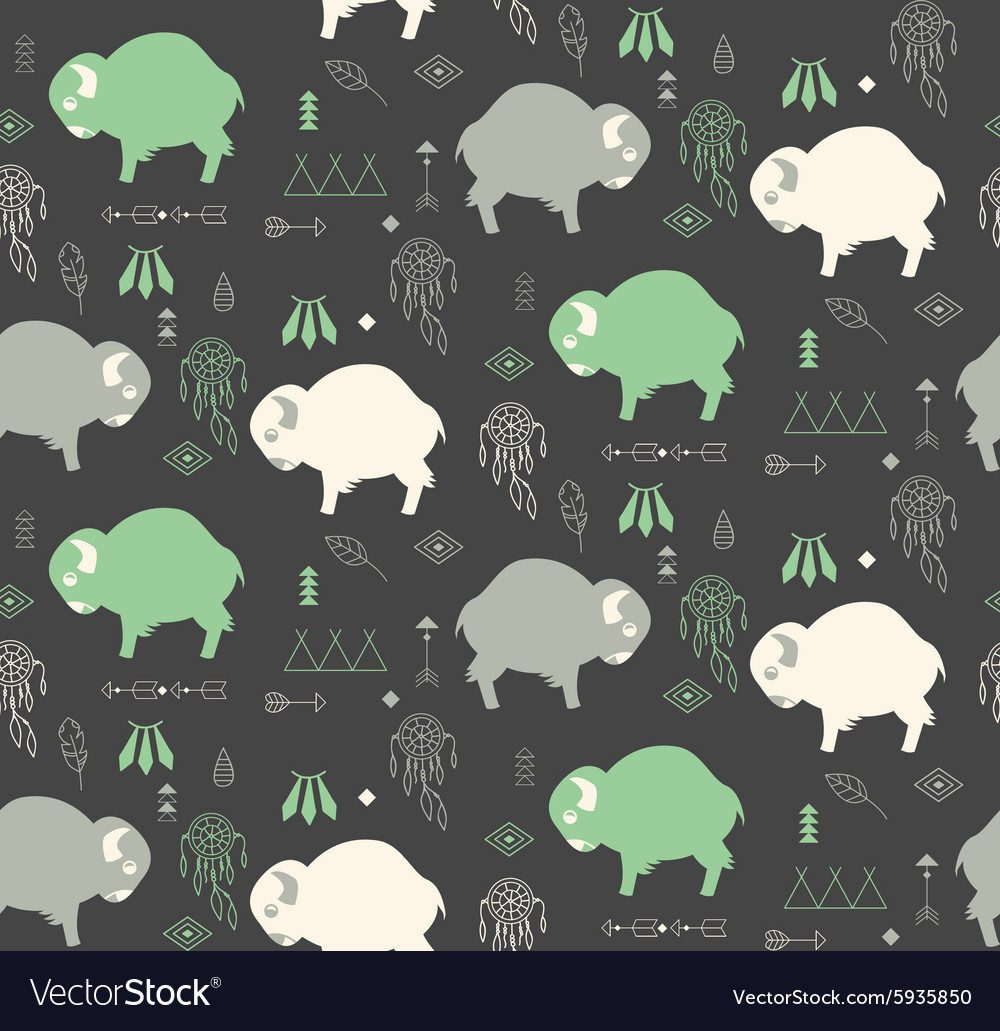 Seamless pattern with cute baby buffaloes