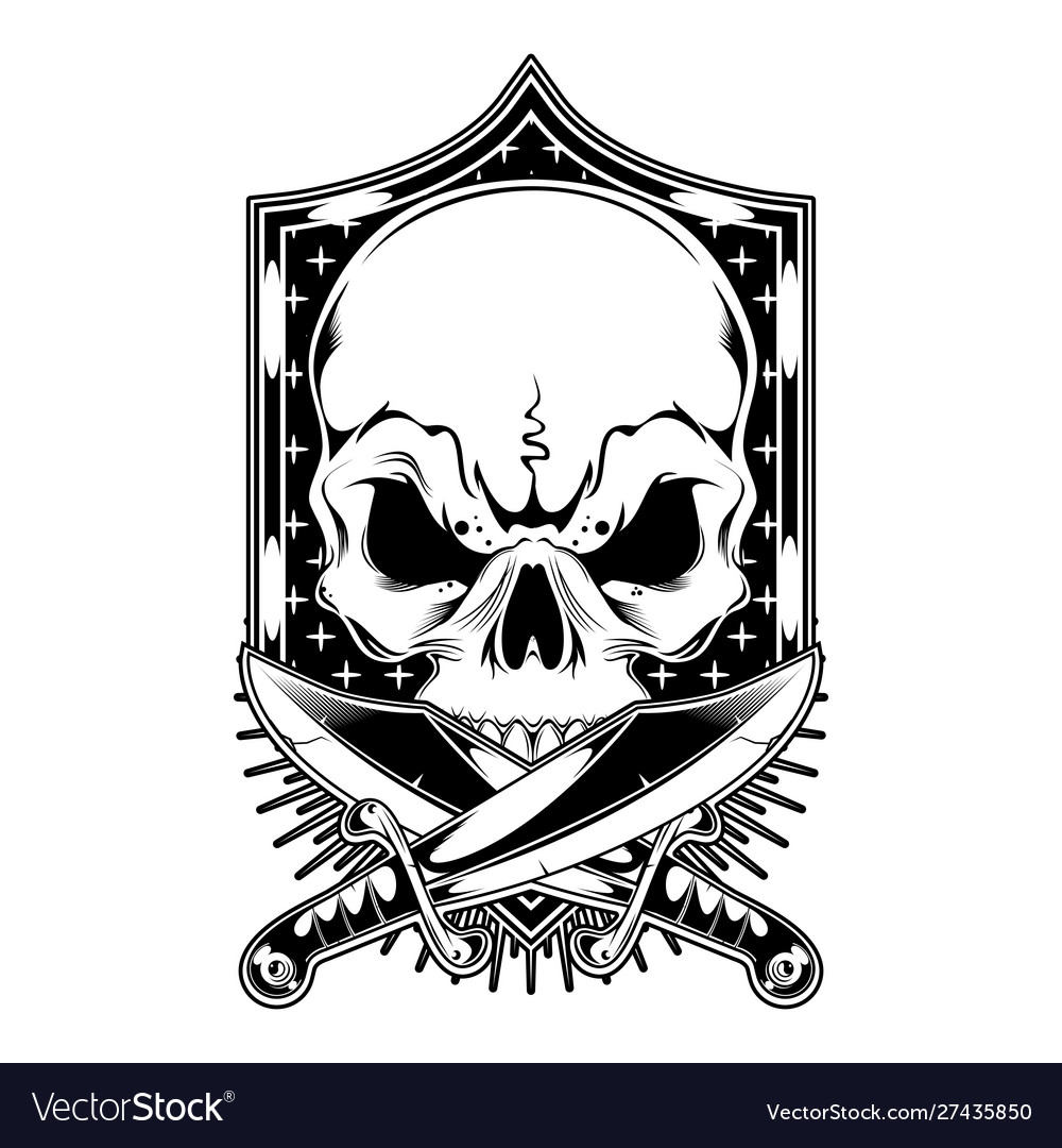 Skull with cross sword hand drawing