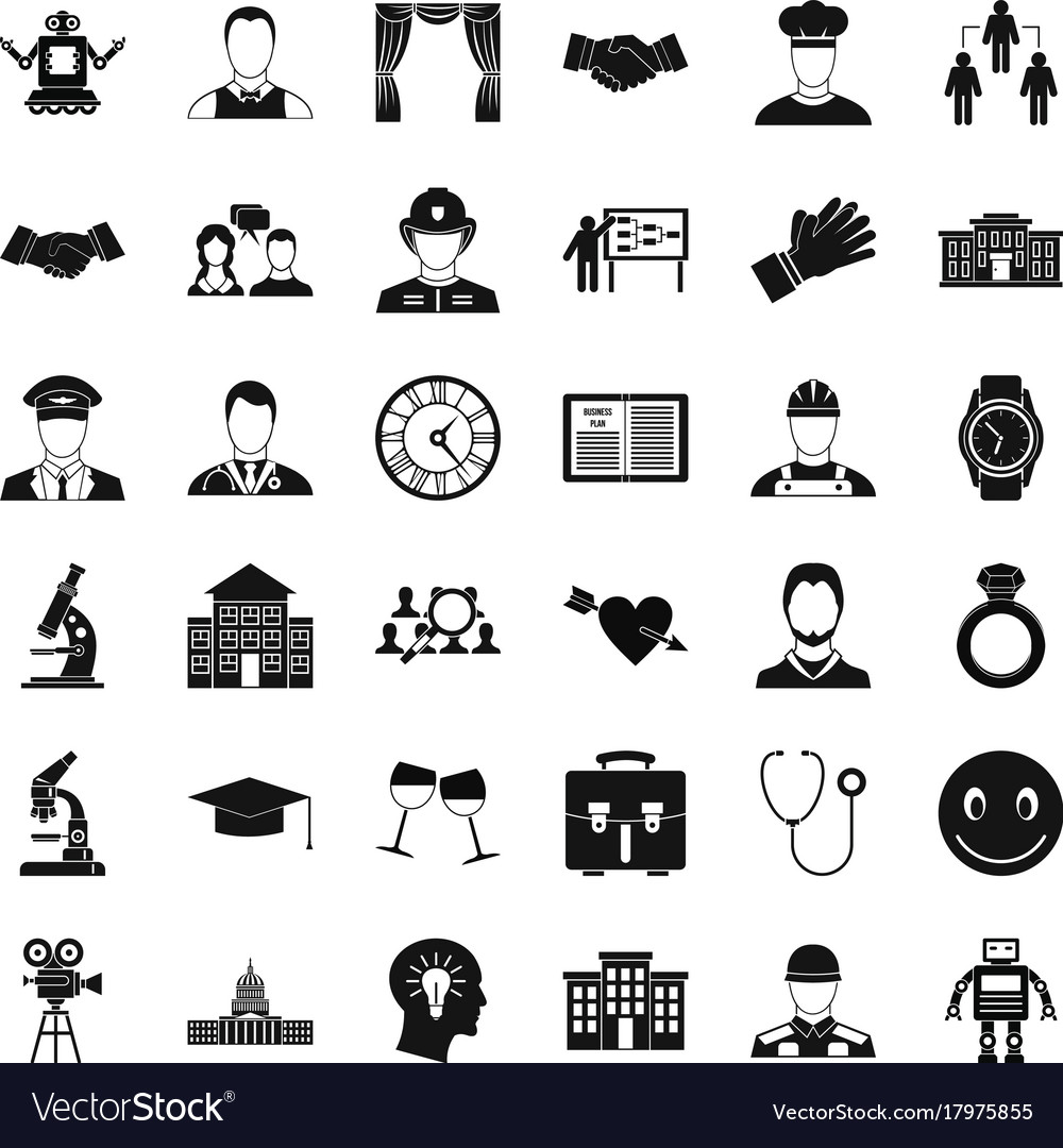 Agreement Icons Set Simple Style Royalty Free Vector Image