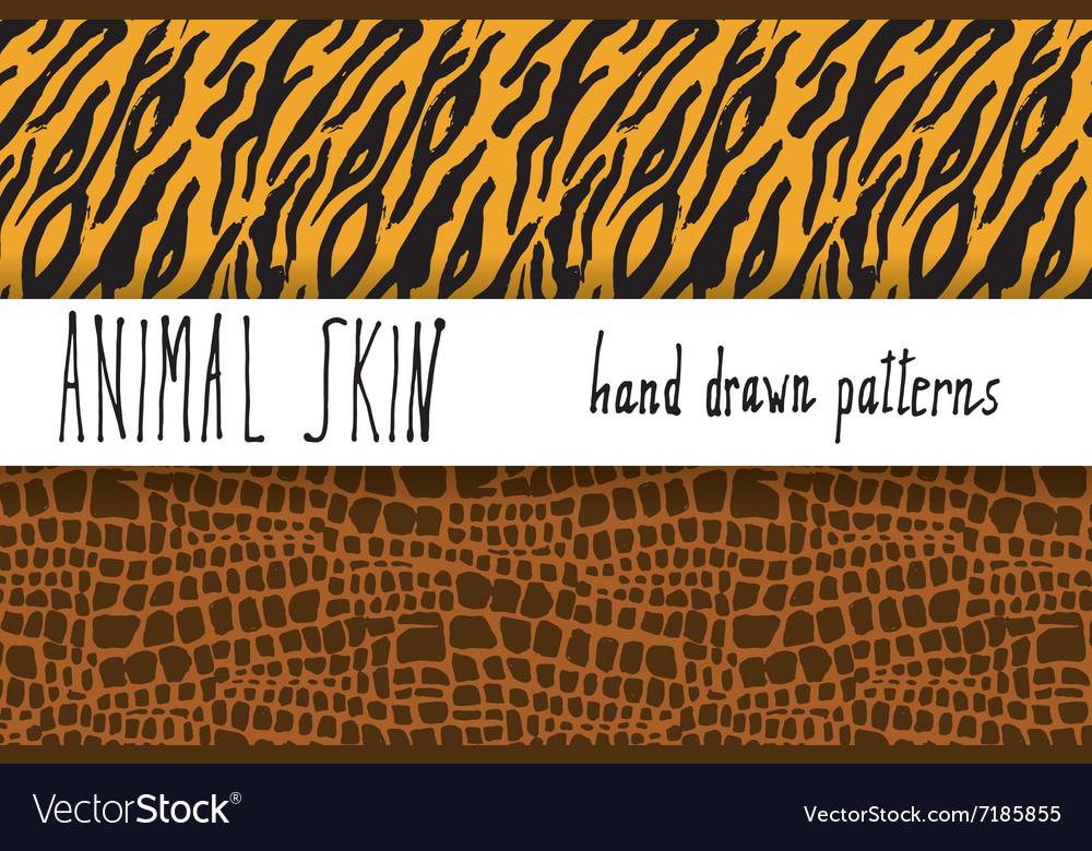 Animal skin hand drawn texture seamless pattern