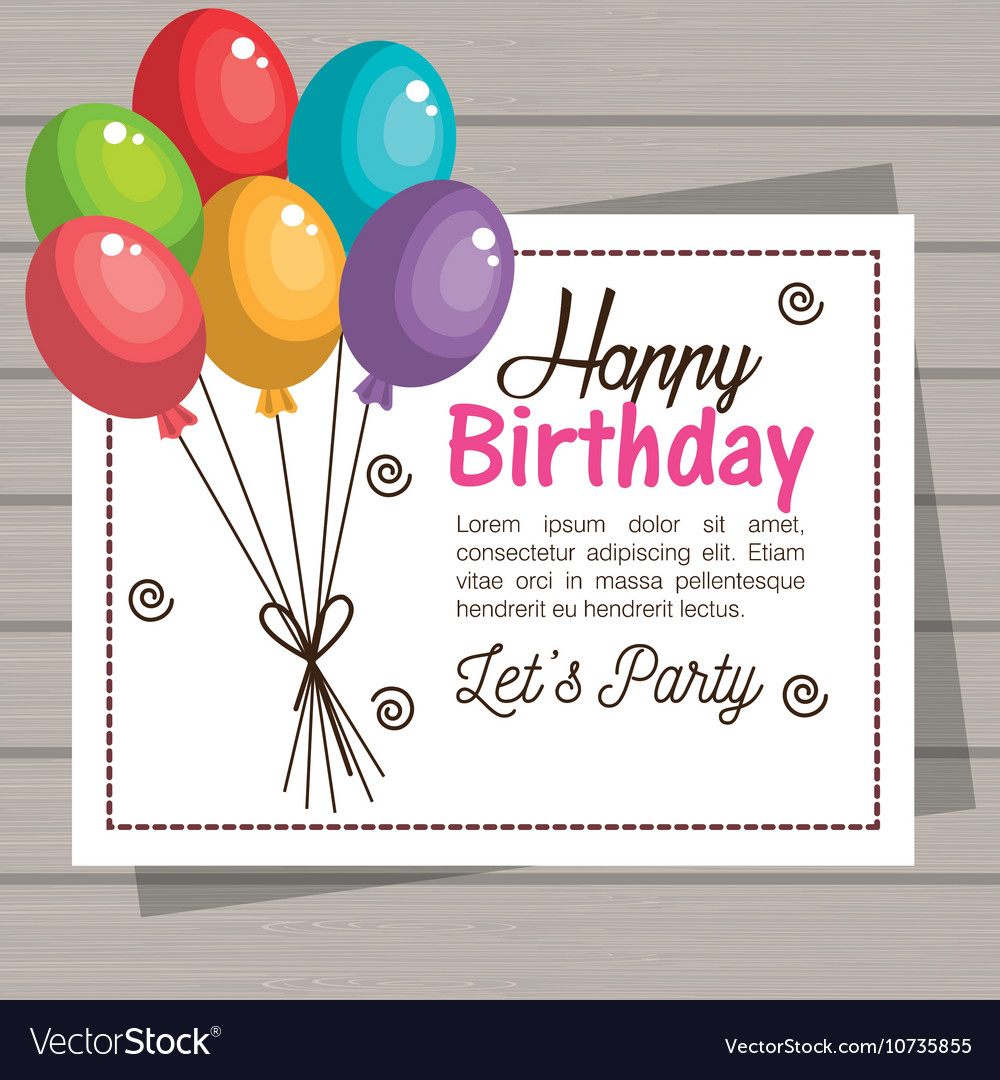 Card happy birthday balloons graphic Royalty Free Vector