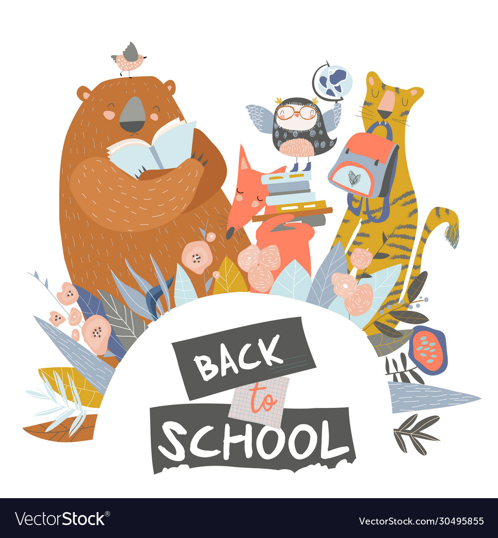 Cute animals with school equipment back to school