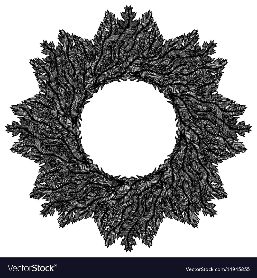 Hand drawn vintage decorative wreath