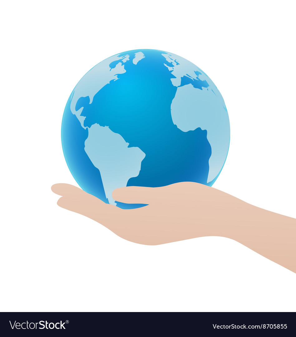 Hand Holding Blue Globe Icon Save Earth Concept