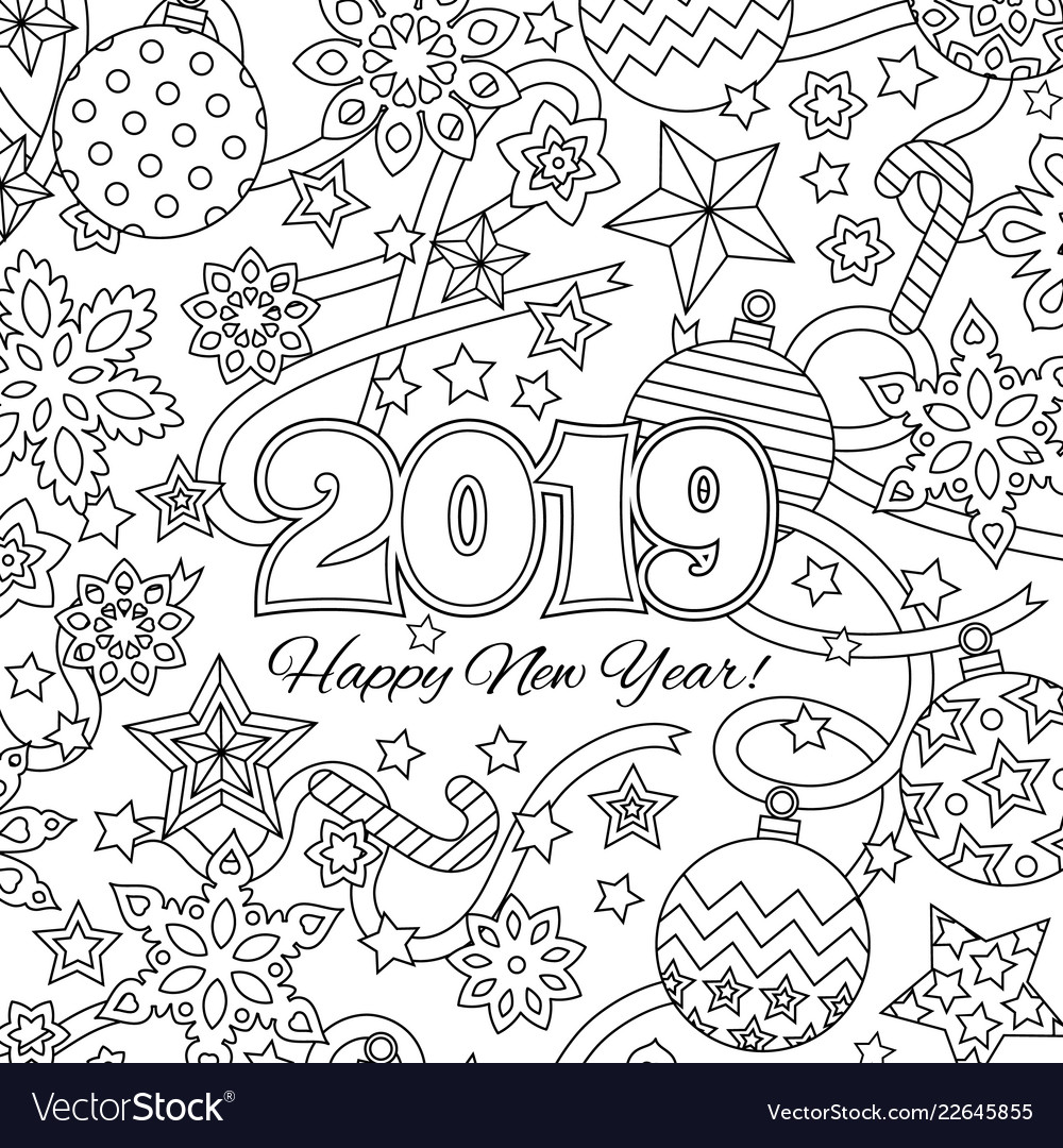 New year congratulation card with numbers 2019 and