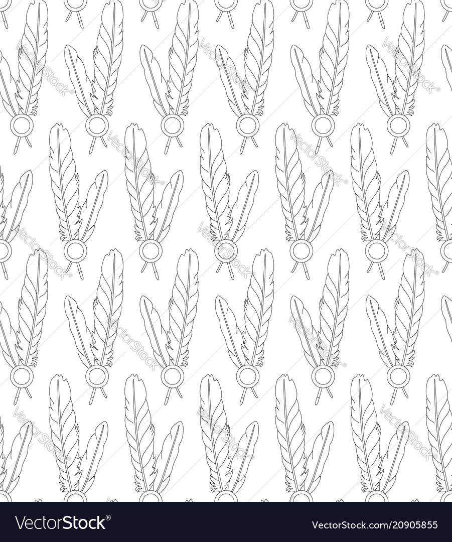 Seamless pattern with paired feathers on white