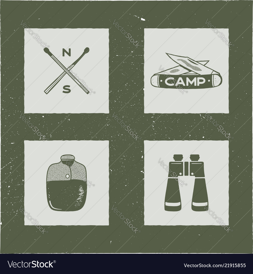 Set of 4 camping silhouette icons and symbols