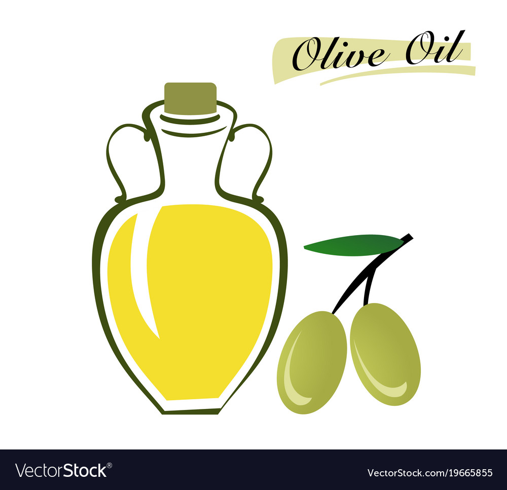 Set of elements of olive oil branch with green