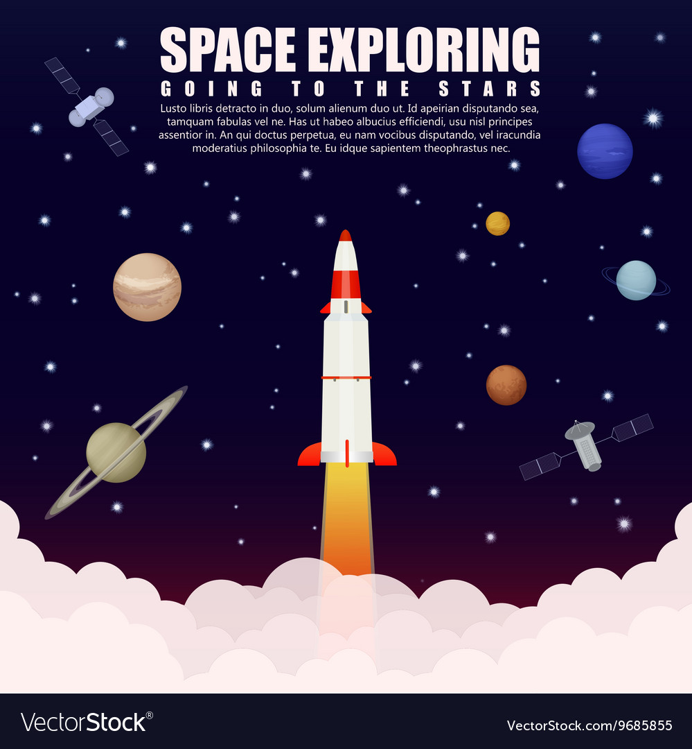 Space rocket launch exploring and research with