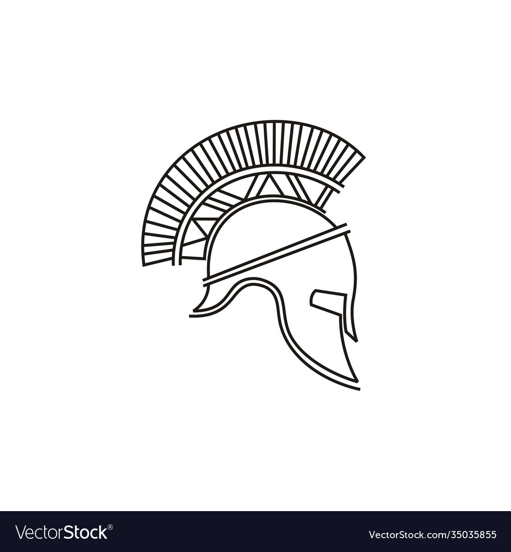 Trendy line art spartan warrior helmet logo design