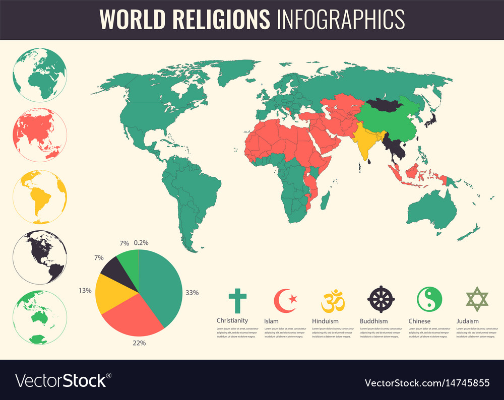 World religions infographic with world map charts vector image gumiabroncs Gallery
