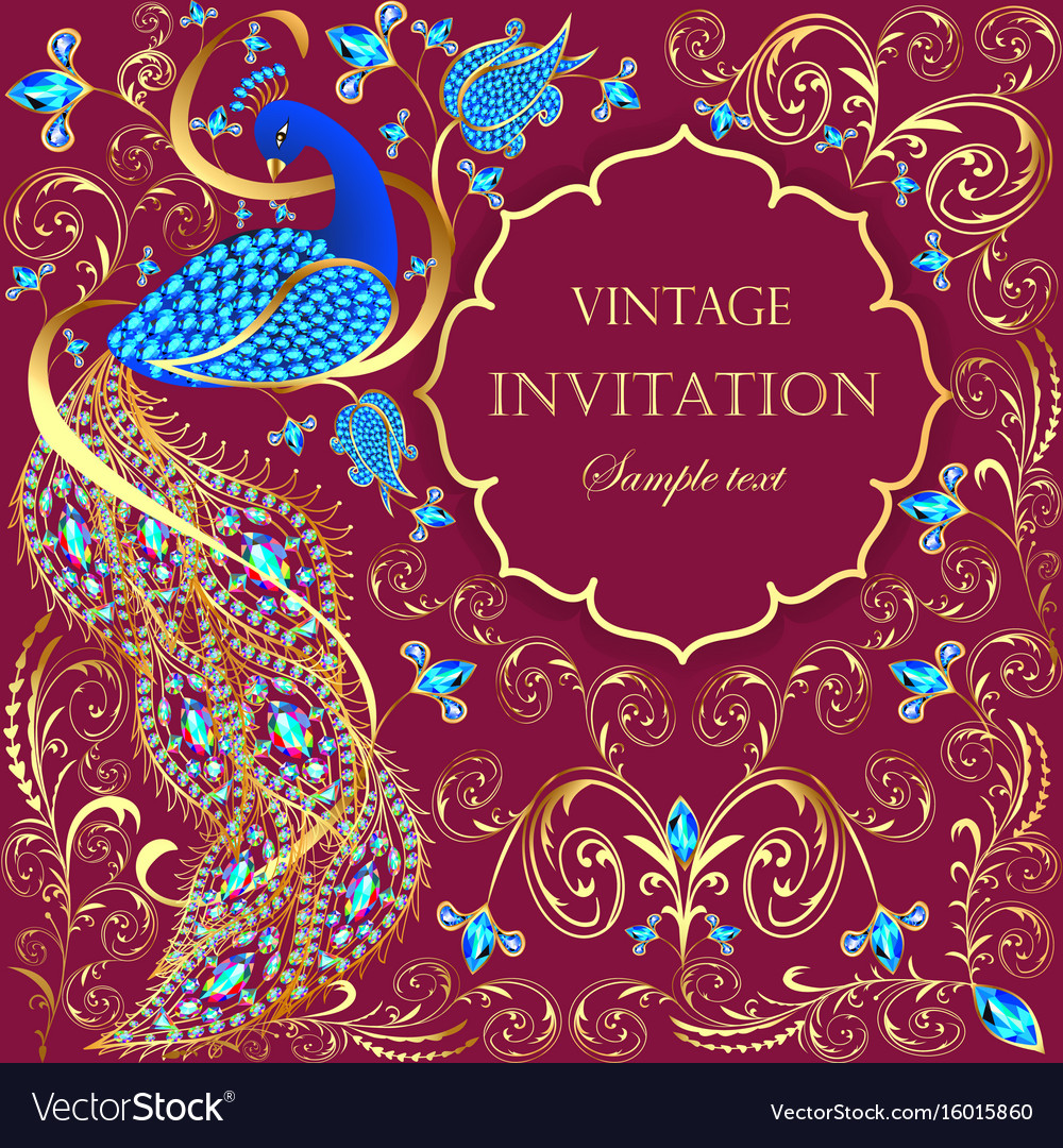 Background with peacock with gold ornament and