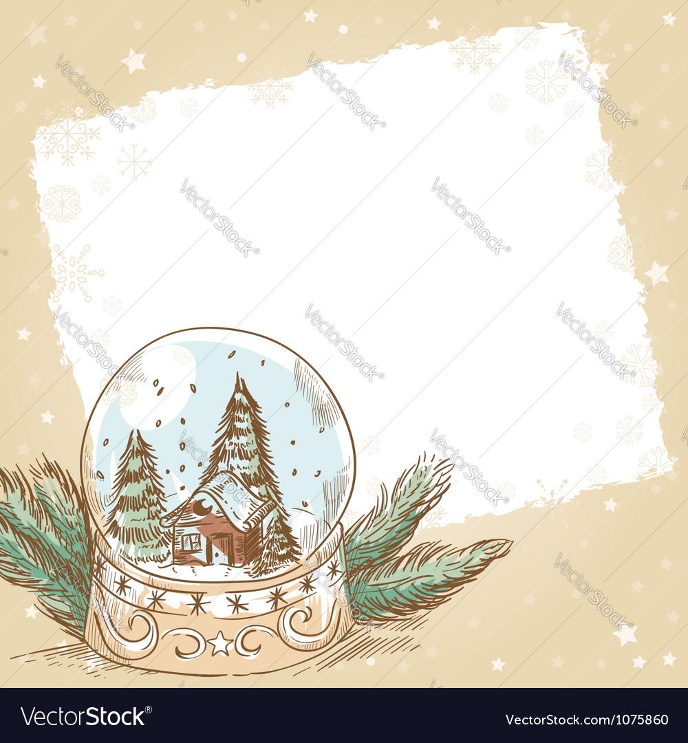 Christmas hand drawn postcard with cute glass ball