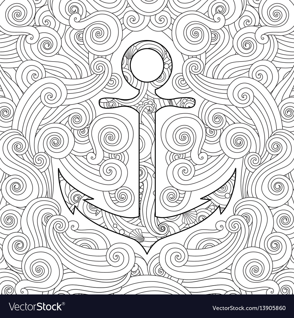 Coloring page with anchor in waves zentangle vector image