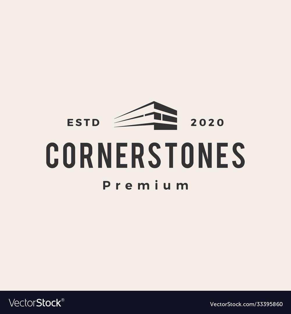 Corner stone hipster vintage logo icon