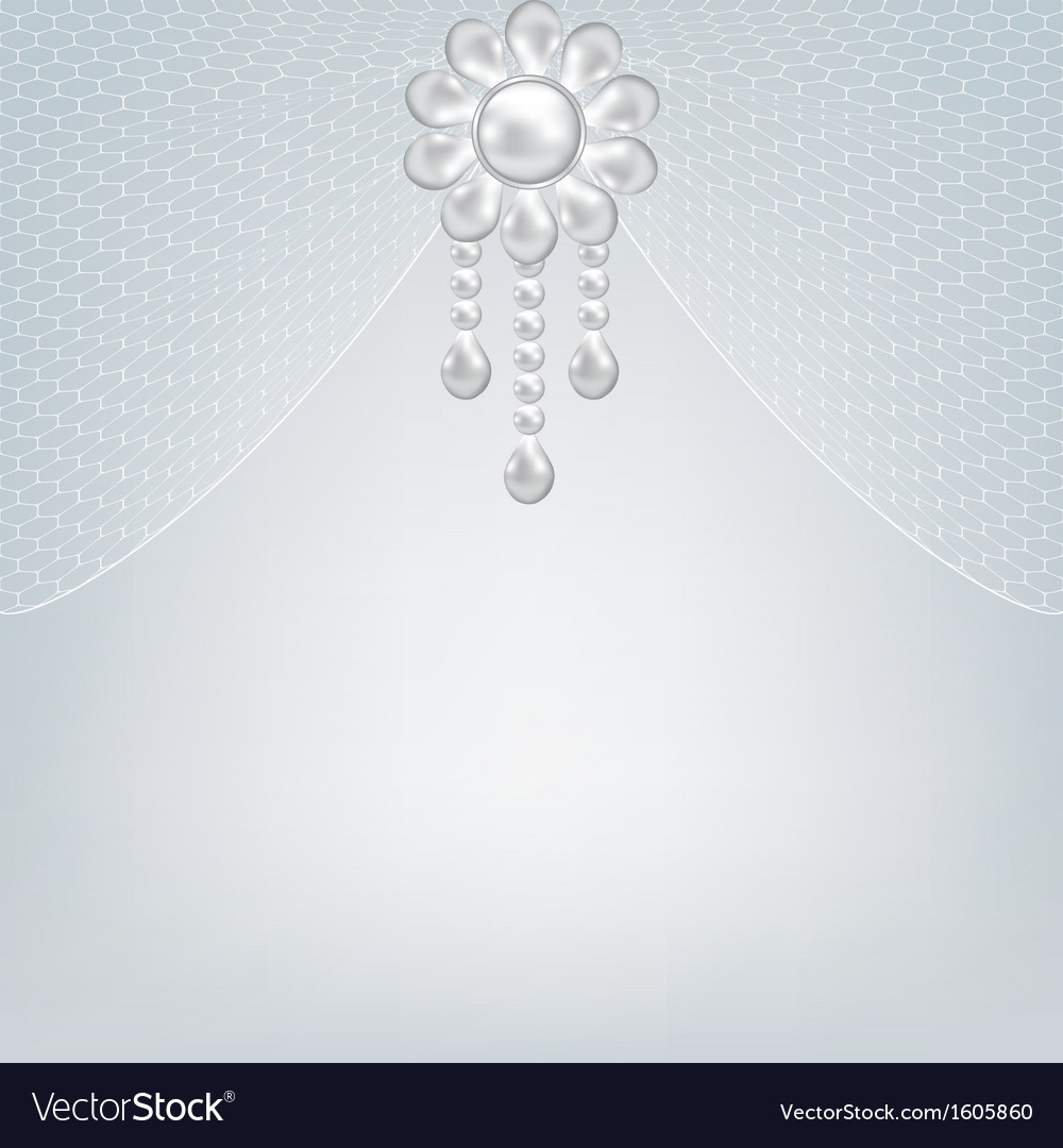 Gray background with pearl jewelry vector image
