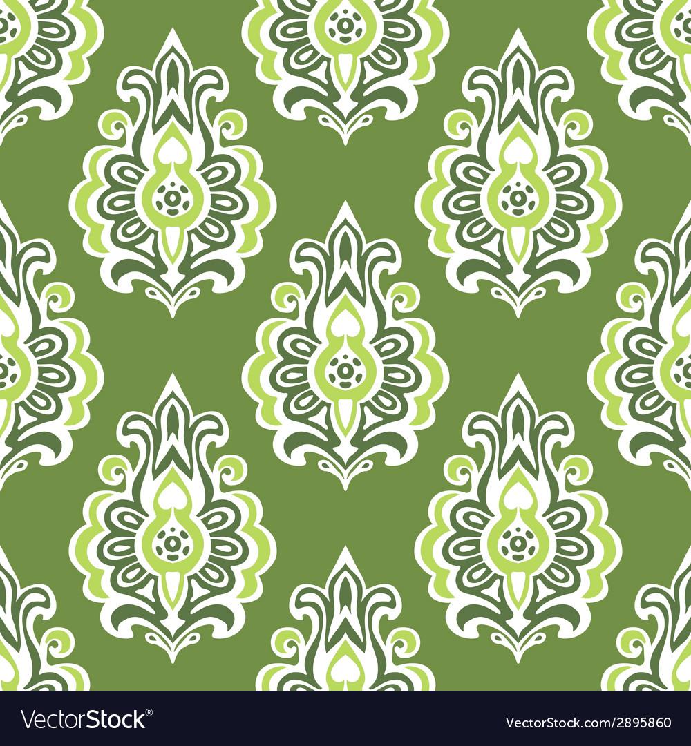 Green Vintage Seamless Retro Floral Wallpaper Vector Image