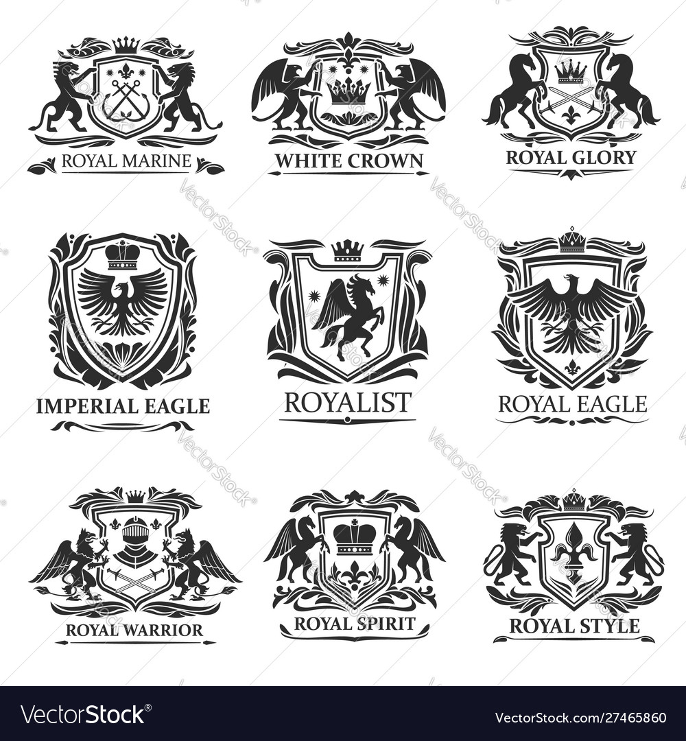 Heraldic eagles lions crowns royal heraldry