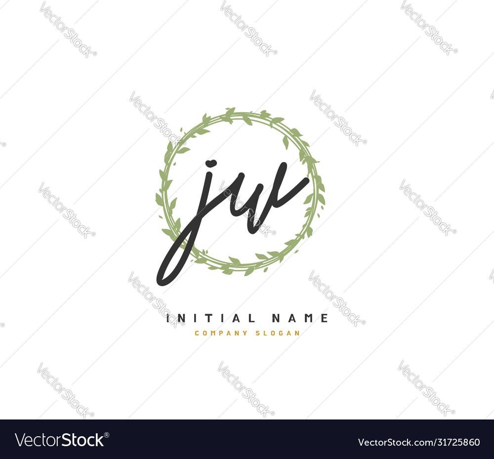 J w jw beauty initial logo handwriting logo