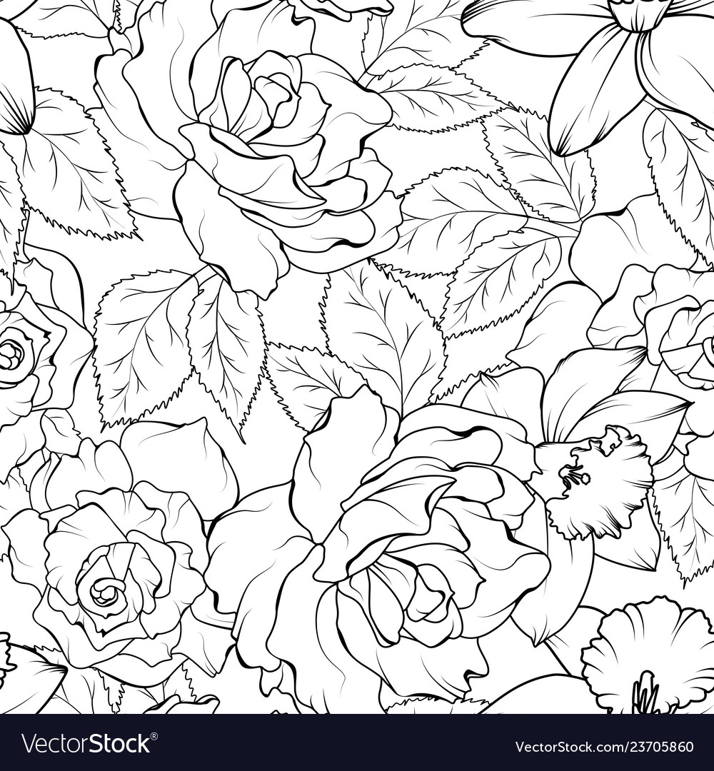 Seamless pattern with roses and daffodils black