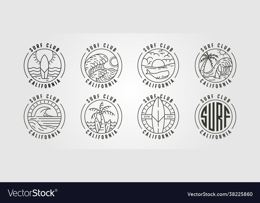 Set line art california surf club icon logo