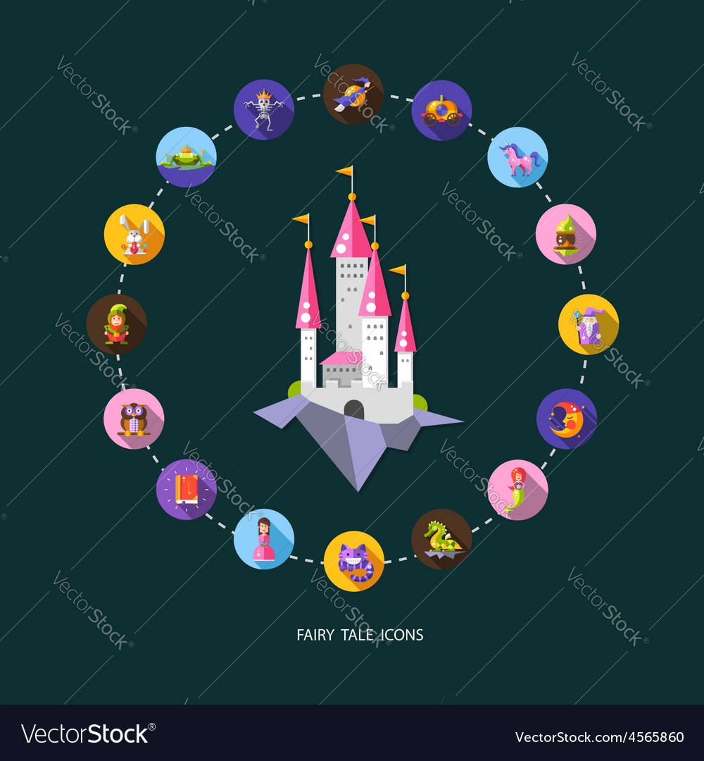 Set of fairy tales flat design magic icons and