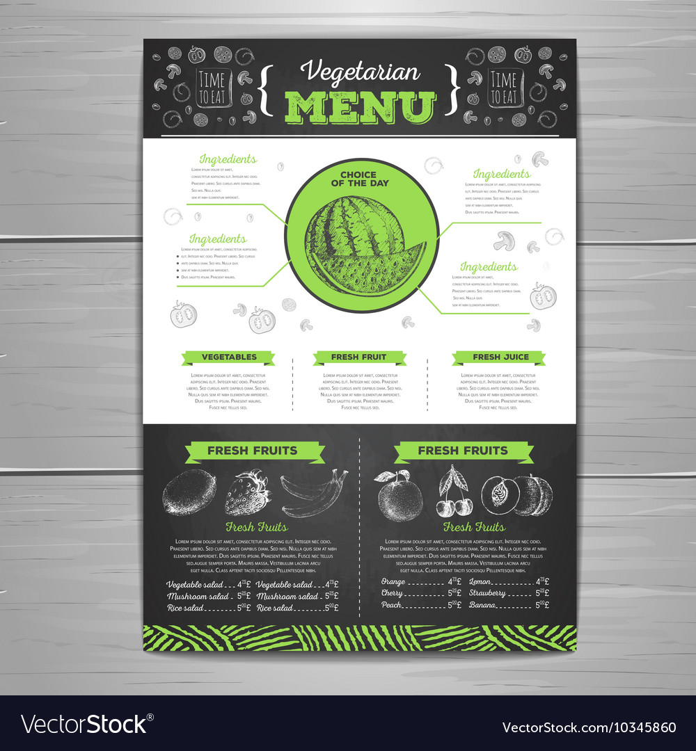 Vintage chalk drawing vegetarian food menu design