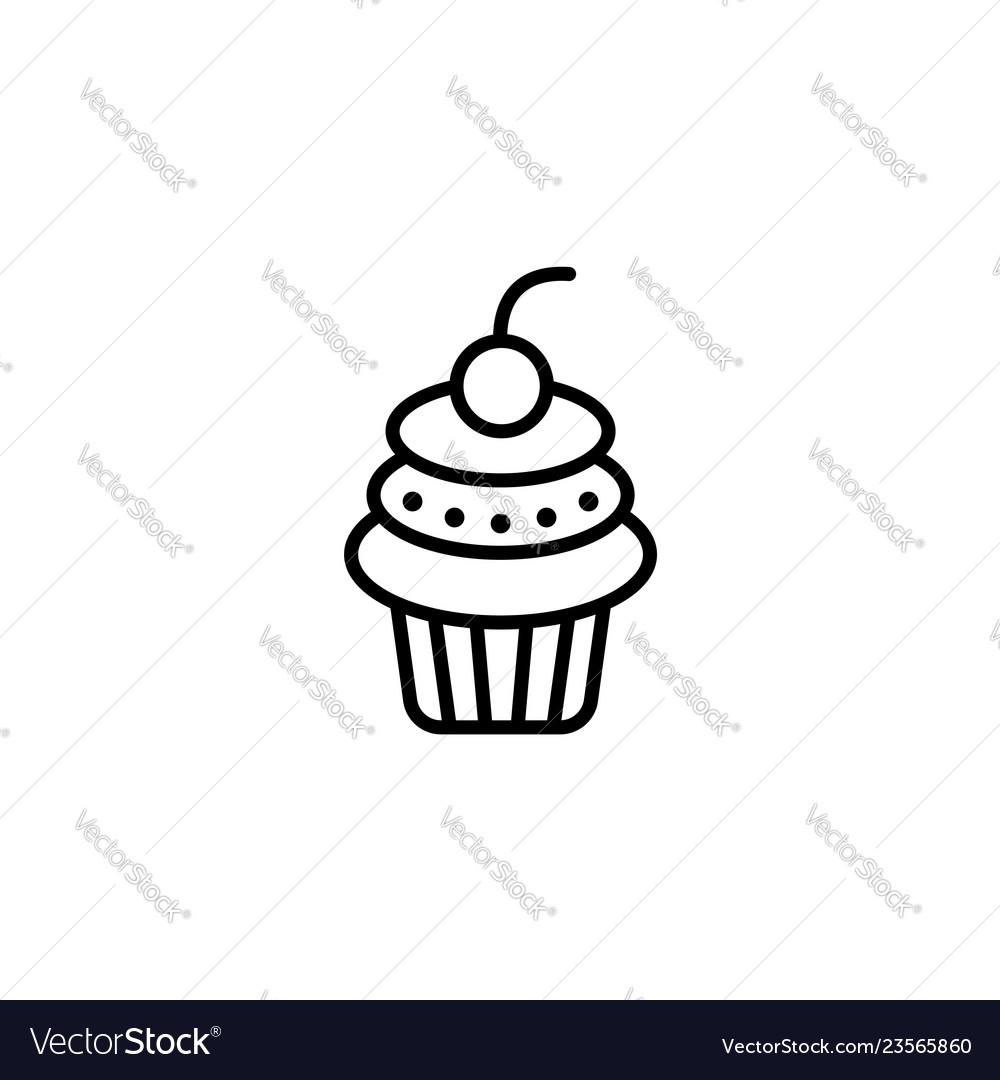 Web line icon cake birthday cake black on white
