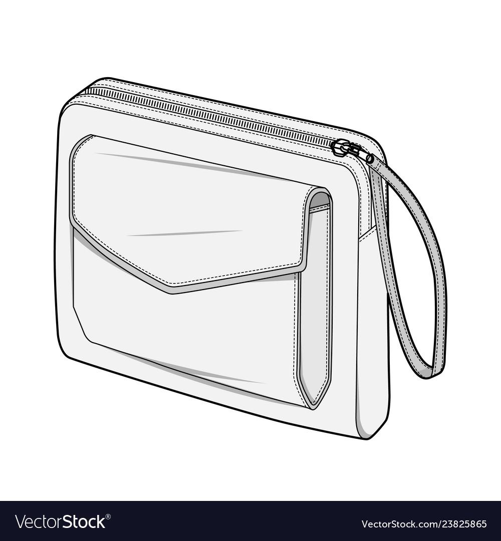 Bag Fashion Flat Technical Drawing Template