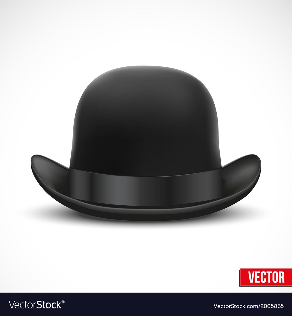 Black bowler hat on a white background Royalty Free Vector d9ec25f2519